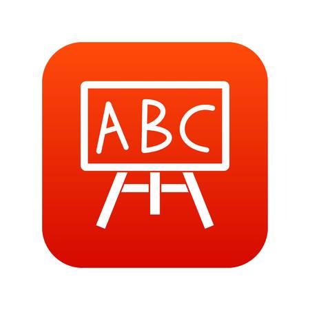 Bord met de letters ABC-pictogram digitaal rood voor om het even welk die ontwerp op witte vectorillustratie wordt geïsoleerd