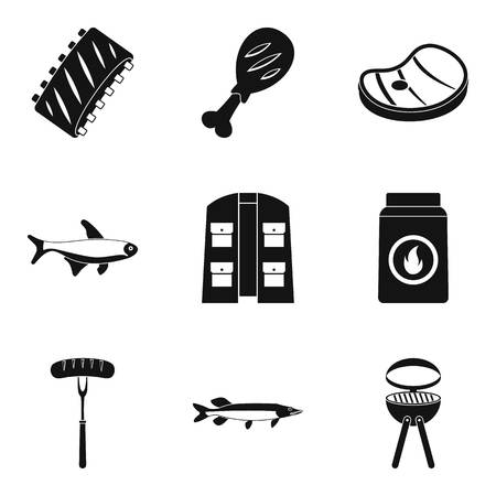 Meat feast icons set, simple style