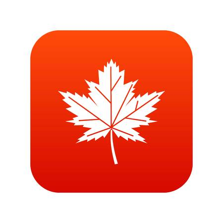 Maple leaf icon digital red Illustration