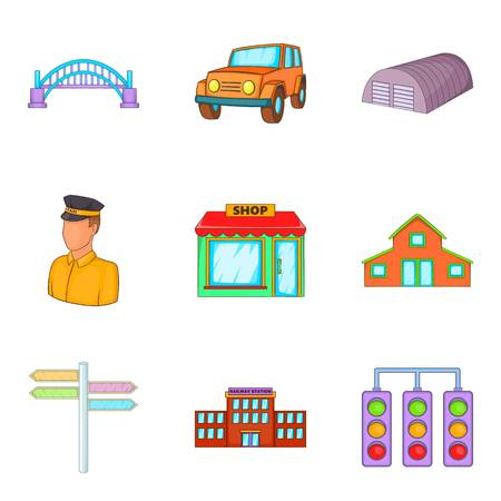 Provincial city icons set, cartoon style