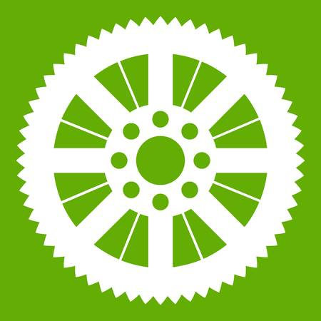Sprocket from bike icon white isolated on green background. Vector illustration