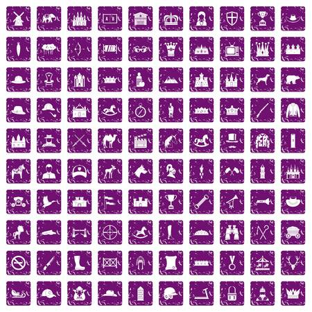 100 horsemanship icons set in grunge style purple color isolated on white background vector illustration