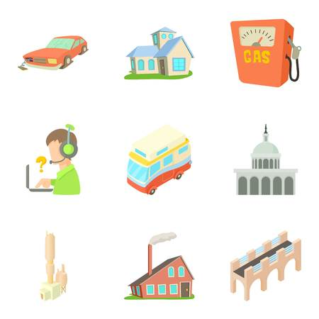 Outskirts icons set. Cartoon set of 9 outskirts vector icons for web isolated on white background Ilustrace