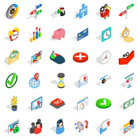 Usage icons set. Isometric style of 36 usage vector icons for web isolated on white background