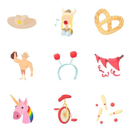 Carnival icons set. Cartoon set of 9 carnival vector icons for web isolated on white background