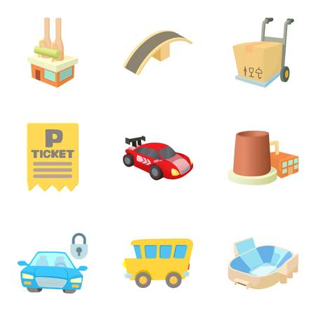 valet: Podunk icons set. Cartoon set of 9 podunk vector icons for web isolated on white background