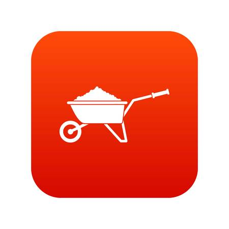 Wheelbarrow loaded with soil icon digital red for any design isolated on white vector illustration Illustration
