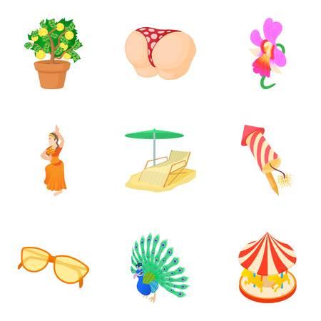 Interesting party icons set, cartoon style Illustration