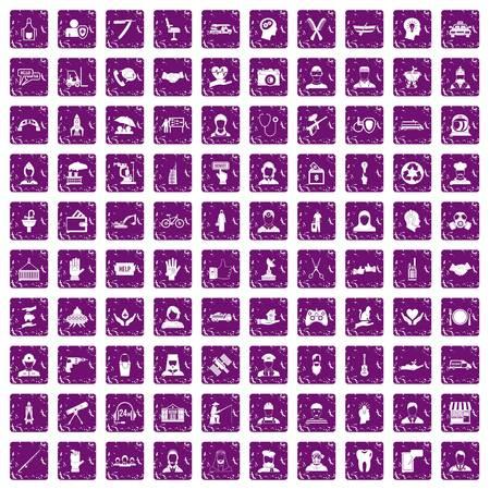 100 人材アイコン設定グランジ紫  イラスト・ベクター素材