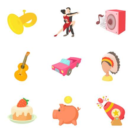 Passion icons set, cartoon style