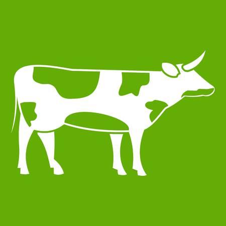 Switzerland cow icon white isolated on green background. Vector illustration Illustration