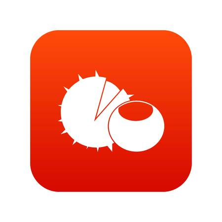 Hazelnuts icon digital red for any design isolated on white vector illustration