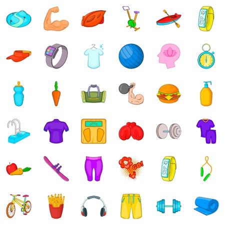 Athlete icons set. Cartoon style of 36 athlete vector icons for web isolated on white background Illustration