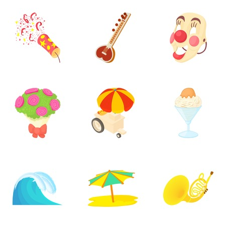 Funny party icons set. Cartoon set of 9 funny party vector icons for web isolated on white background Illustration