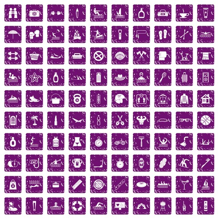 100 human health icons set in grunge style purple color isolated on white background vector illustration