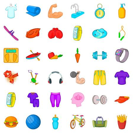 Swimming icons set. Cartoon style of 36 swimming vector icons for web isolated on white background