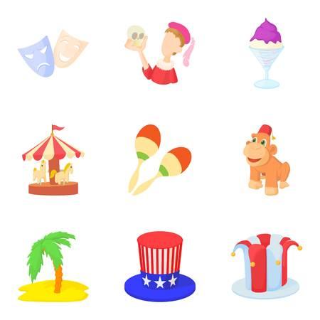 Street magic icons set, cartoon style
