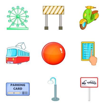 Jeu d'icônes d'emplacement interdit, style cartoon Banque d'images - 87840542