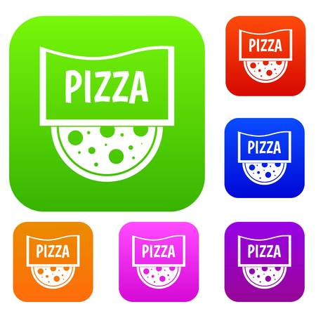 Pizza badge or signboard set icon color in flat style isolated on white. Collection sings vector illustration