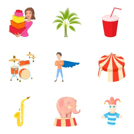 having fun: Fascinating icons set. Cartoon set of 9 fascinating vector icons for web isolated on white background