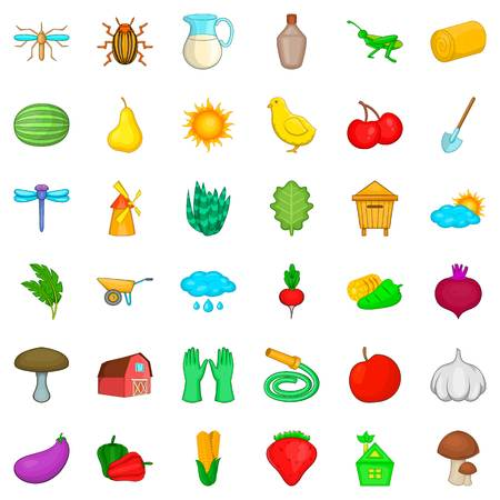 Harvest icons set. Cartoon style of 36 harvest vector icons for web isolated on white background