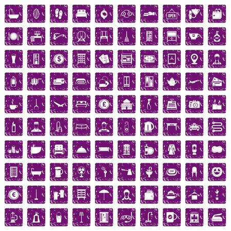 100 inn icons set in grunge style purple color isolated on white background vector illustration