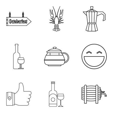 Tea ceremony icons set. Outline set of 9 tea ceremony vector icons for web isolated on white background
