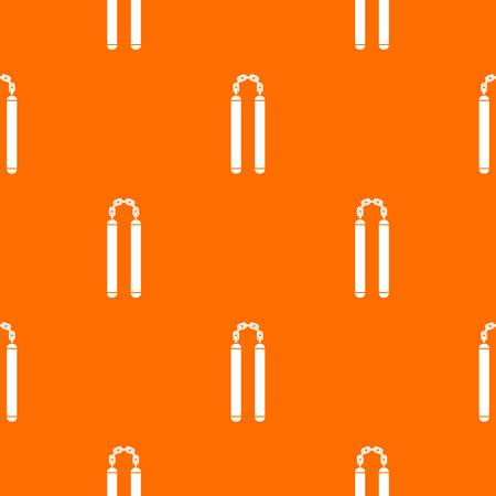 self  defense: Nunchaku pattern repeat seamless in orange color for any design. Vector geometric illustration
