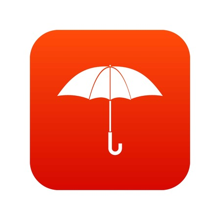 Umbrella icon digital red for any design isolated on white vector illustration