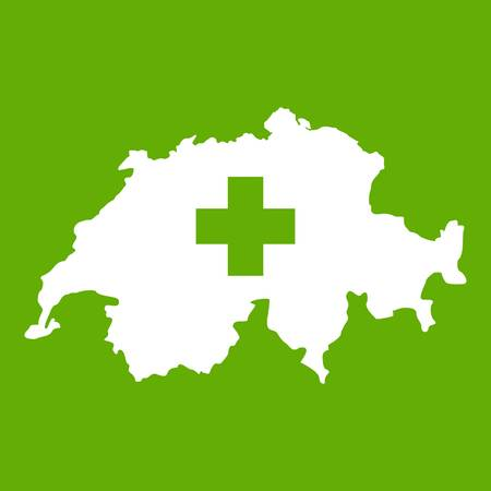 Switzerland map icon white isolated on green background. Vector illustration Illustration