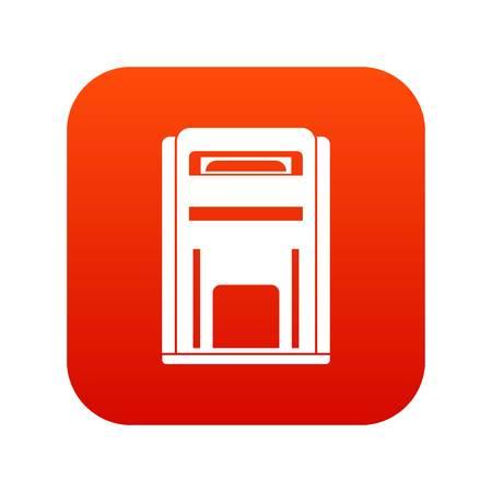 Square post box icon digital red Illustration