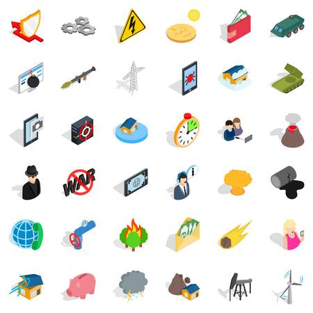 Storm icons set. Isometric style of 36 storm vector icons for web isolated on white background Illustration
