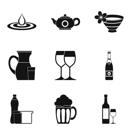 Wineglass icons set, simple style