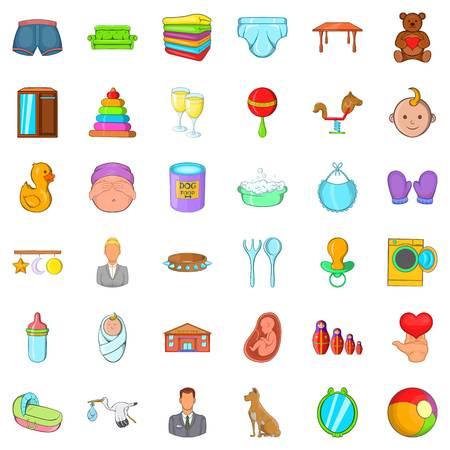 Carriage icons set, cartoon style Illustration