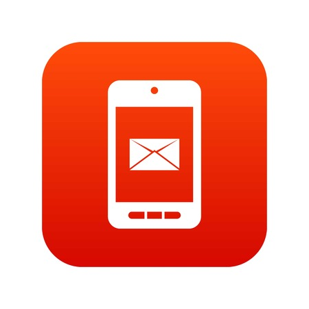 Smartphone with email symbol on the screen icon digital red