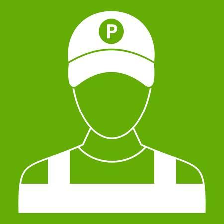 Parking attendant icon green Illustration