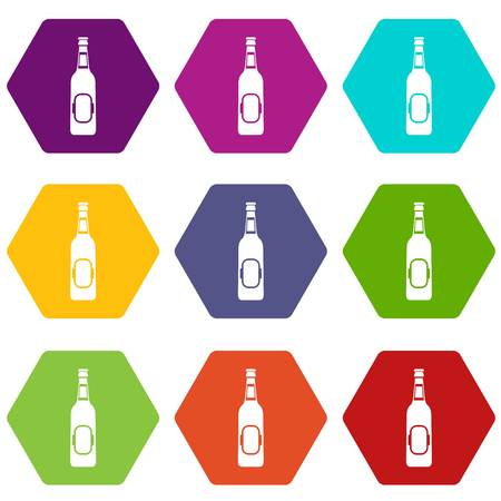 Bottle of beer icon set color hexahedron
