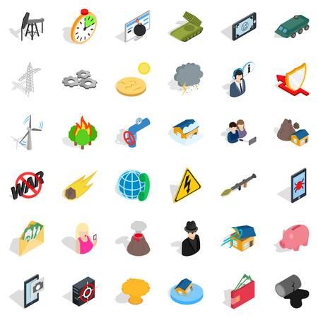 Gadget icons set, isometric style