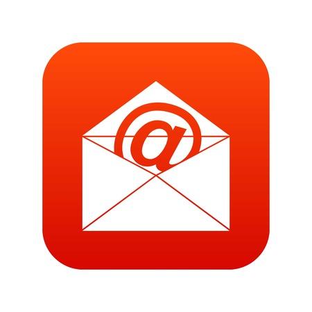 Envelop met het pictogram digitaal rood van het e-mailteken voor om het even welk die ontwerp op witte vectorillustratie wordt geïsoleerd