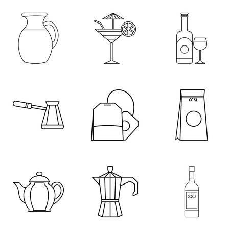 Tea bag icons set. Outline set of 9 tea bag vector icons for web isolated on white background Illustration