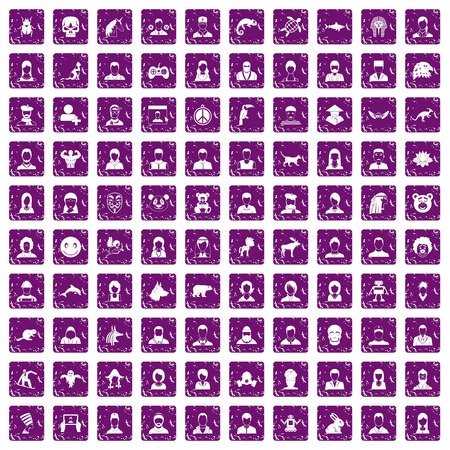 100 avatar icons set in grunge style purple color isolated on white background vector illustration Imagens - 87866795