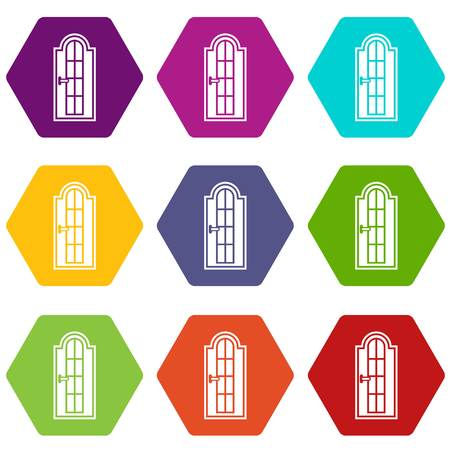 Arched wooden door with glass icon set many color hexahedron isolated on white vector illustration