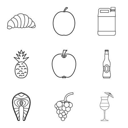 Light meal icons set. Outline set of 9 light meal vector icons for web isolated on white background Illustration