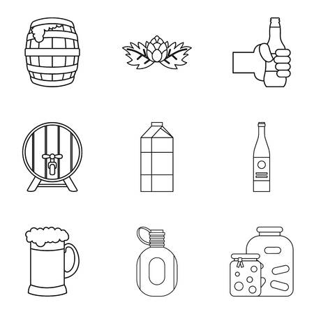 Fermentation icons set. Outline set of 9 fermentation vector icons for web isolated on white background Illustration