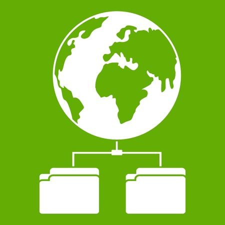 Planet and two folders icon white isolated on green background. Vector illustration