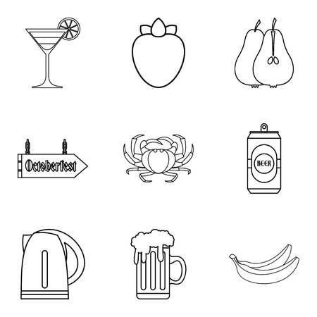 Barroom icons set, outline style