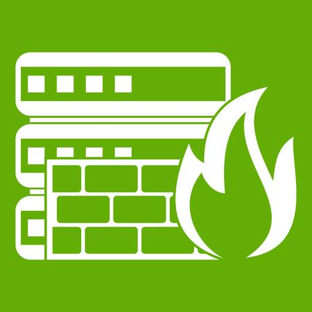 Database and firewall icon green Illustration