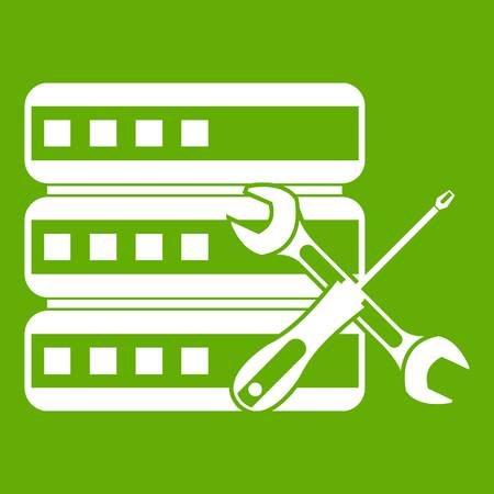 metal net: Database with screwdriver and spanner icon green