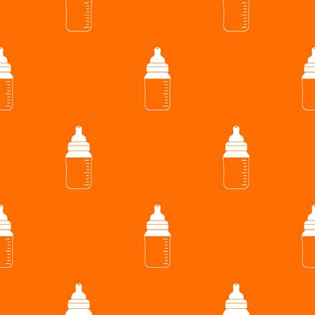 Baby milk bottle pattern repeat seamless in orange color for any design. Vector geometric illustration
