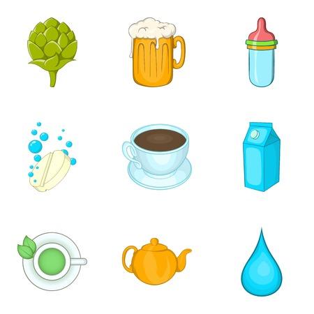 Tea drink icons set, cartoon style Illustration